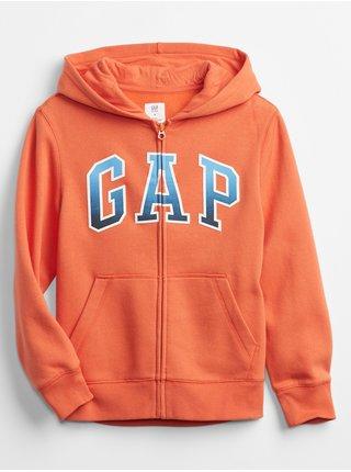 Oranžová klučičí dětská mikina GAP Logo v-spr fshn fz