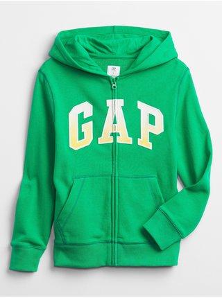 Detská mikina GAP Logo hoodie Zelená