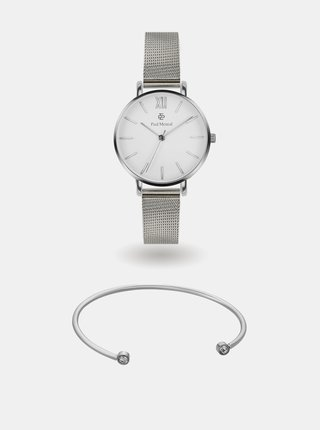 Sada dámských hodinek a náramku ve stříbrné barvě Paul McNeal