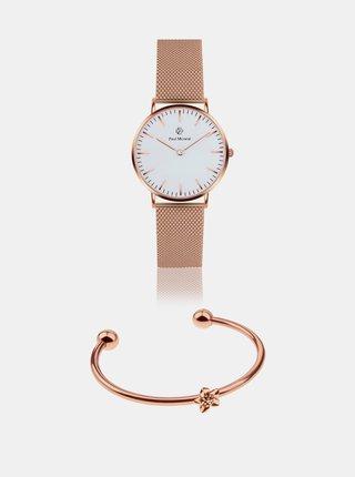Sada dámských hodinek a náramku v růžovozlaté barvě Paul McNeal