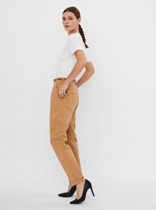 Hnědé kalhoty s páskem VERO MODA Masie
