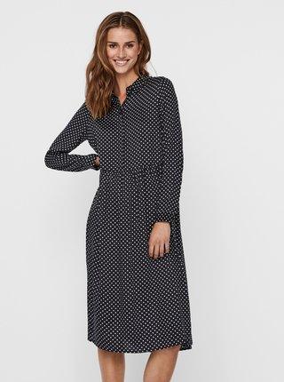 Černé puntíkované košilové šaty VERO MODA Fie