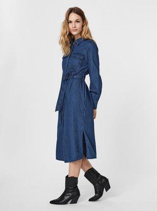 Modré rifľové košeľové midišaty VERO MODA