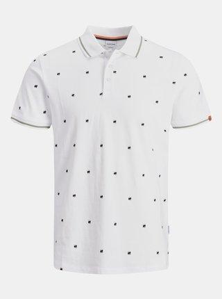 Bílé vzorované polo tričko Jack & Jones