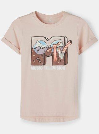 Ružové dievčenské tričko s potlačou name it MTV