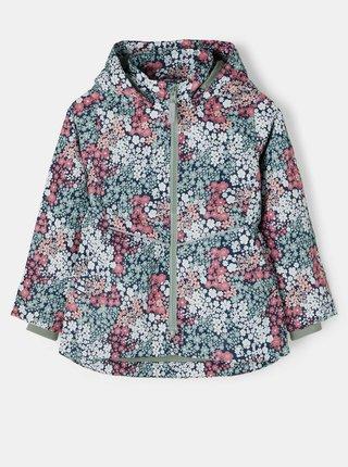 Růžovo-zelená holčičí květovaná bunda s odepínací kapucí name it