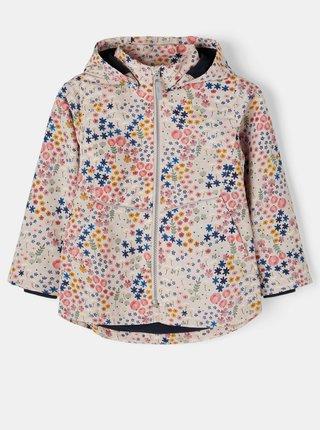 Růžová holčičí vzorovaná bunda s odepínací kapucí name it