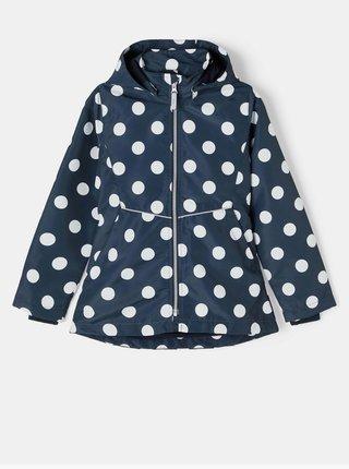 Tmavě modrá holčičí puntíkovaná bunda s odepínací kapucí name it