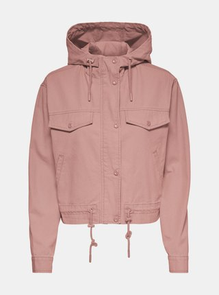 Ružová ľahká bunda s kapucou ONLY Ally