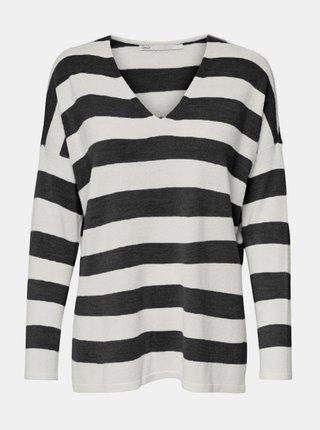 Bielo-čierny pruhovaný sveter s rozparkami ONLY Amalia