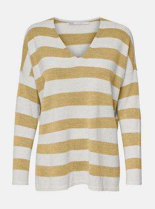 Bílo-žlutý pruhovaný svetr s rozparky ONLY Amalia