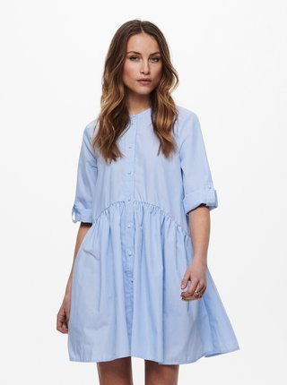 Světle modré pruhované košilové volné šaty ONLY Chicago