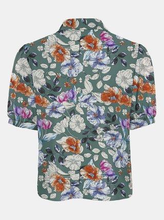 Zelená kvetovaná košeľa s krátkym rukávom ONLY