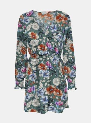 Zelené květované šaty ONLY