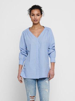 Modrá pruhovaná voľná košeľa s rozparkami Jacqueline de Yong Phoebe