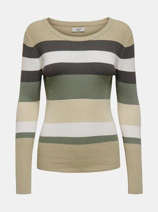 Zeleno-béžový pruhovaný svetr Jacqueline de Yong Petal