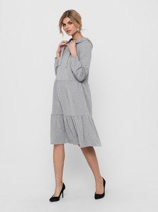 Šedé mikinové šaty s kapucí Jacqueline de Yong Dale