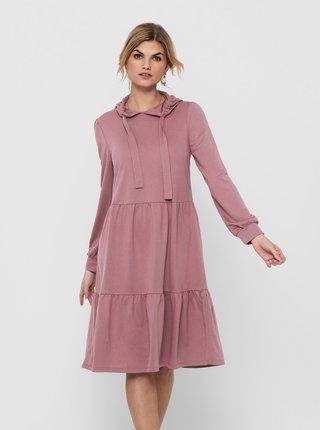 Růžové mikinové šaty s kapucí Jacqueline de Yong Dale