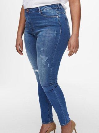 Modré skinny fit džíny s potrhaným efektem ONLY CARMAKOMA Laola