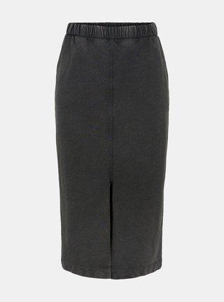 Čierna púzdrová midi sukňa s rozparkom Pieces Gahoa