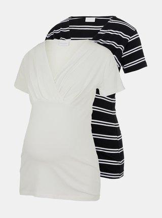 Sada dvoch tehotenských/dojčiacich tričiek v čiernej a bielej farbe Mama.licious Sia