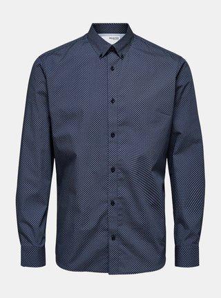 Tmavomodrá vzorovaná košeľa Selected Homme Roy