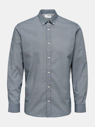 Modrá vzorovaná košeľa Selected Homme Roy