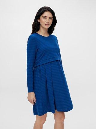 Modré pruhované tehotenské/dojčiace mikinové šaty Mama.licious Alison