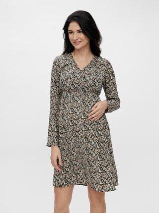 Černé květované těhotenské/kojicí šaty Mama.licious Phina