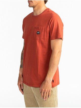 Billabong STACKED DEEP RED pánské triko s krátkým rukávem - oranžová