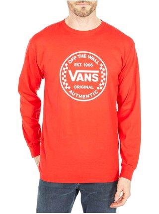 Vans AUTHENTIC CHECKER HIGH RISK RED pánské triko s dlouhým rukávem - červená