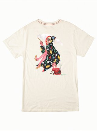 RVCA THE GORGEOUS HUY ANTIQUE WHITE dámské triko s krátkým rukávem - béžová