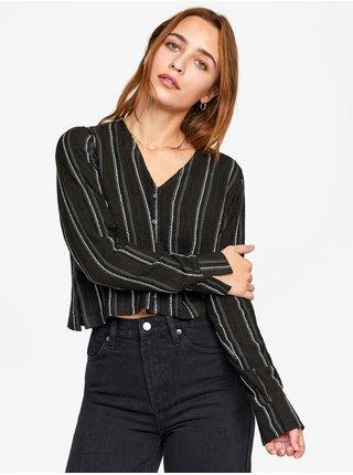 RVCA HOSTA TRUE BLACK dámská košile s dlouhým rukávem - černá