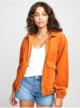 RVCA VIBER CORDUROY DARK ORANGE podzimní bunda pro ženy - oranžová