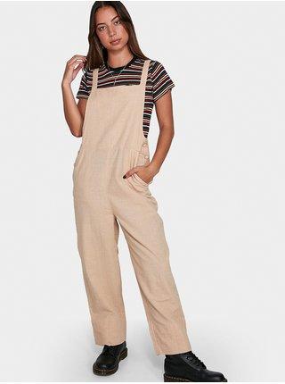 RVCA BFS CRUSH SUNWASH plátěné kalhoty dámské - béžová