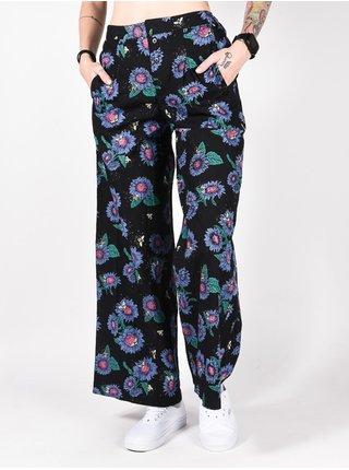 Element LUNA POP SUNFLOWERS PRIN plátěné kalhoty dámské - černá
