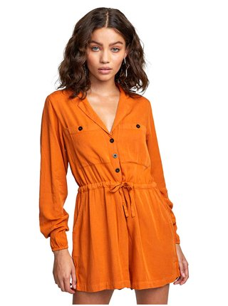 RVCA DESERT DAZE DARK ORANGE plátěné kraťasy dámské - oranžová