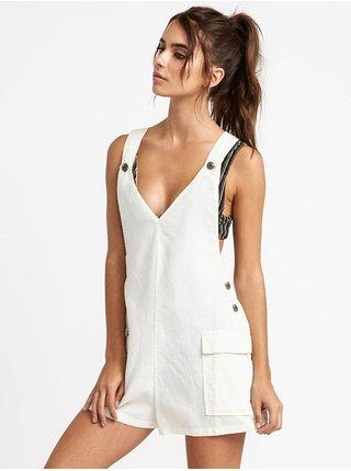 RVCA ROUND TOWN WHISPER WHITE krátké letní šaty - bílá