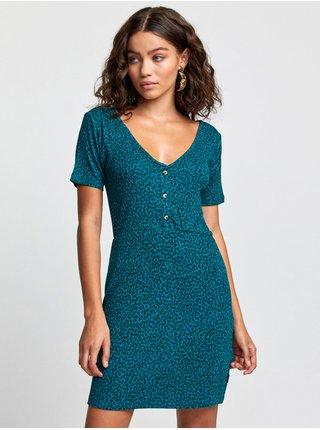 RVCA BLOOM STORM GREEN krátké letní šaty - černá