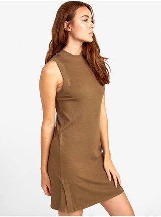 RVCA LEMMON VINTAGE GREEN krátké letní šaty - hnědá