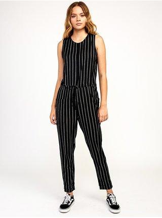 RVCA POP OUT black stripe dlouhé letní šaty - černá