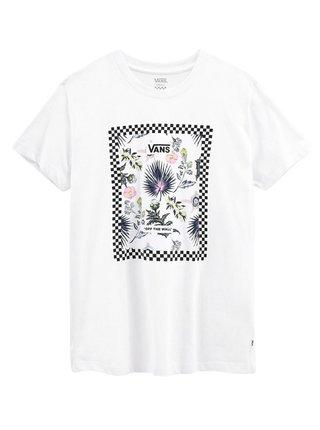 Vans BORDER FLORAL white dětské triko s krátkým rukávem - bílá