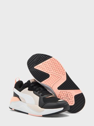 Růžovo-černé dámské kožené tenisky Puma