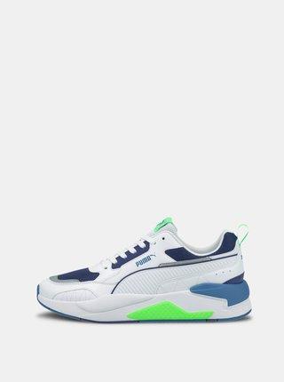 Modro-bílé pánské kožené tenisky Puma