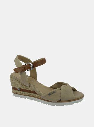 Béžové sandálky na plnom podpätku Tom Tailor