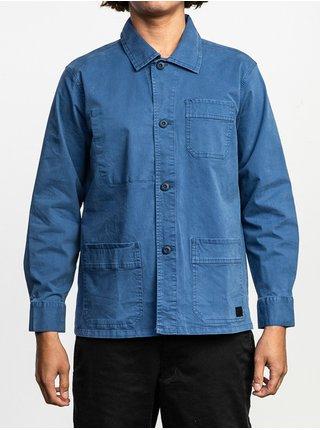 RVCA COULEUR CHORE COAT SURPLUS BLUE pánské košile s dlouhým rukávem - modrá