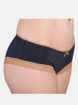Dámské Kalhotky Molvy černé s hnědou krajkou