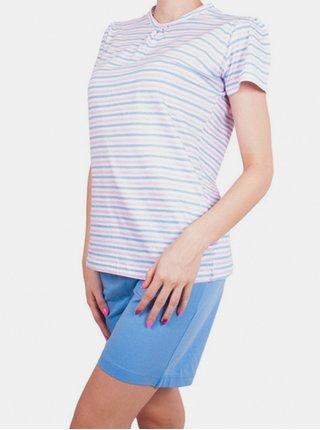 Dámské krátké pyžamo Molvy modro růžové proužky