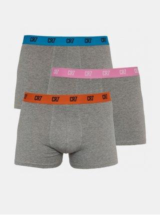 3PACK pánské boxerky CR7 šedé