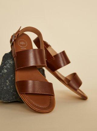 Hnedé kožené sandále OJJU